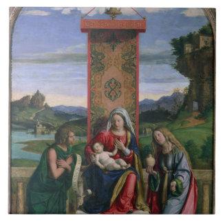 Madonna y niño con St. John el Bautista y el mA Azulejo Cuadrado Grande