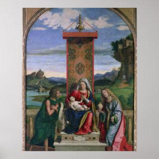Madonna y niño con St. John el Bautista y el mA Póster