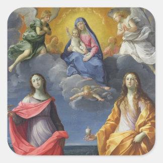 Madonna y niño con St. Lucy y Maria Magdalena Pegatina Cuadrada