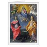 Madonna y niño con St. Lucy y Maria Magdalena Felicitación