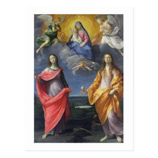 Madonna y niño con St. Lucy y Maria Magdalena Postal