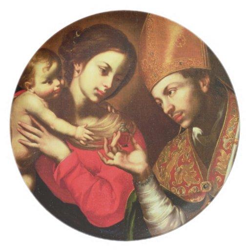 Madonna y niño con St. Zenobius Platos Para Fiestas