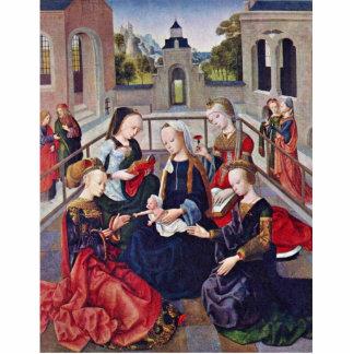 Madonna y niño con Sts Catherine Cecilia Barba Escultura Fotográfica