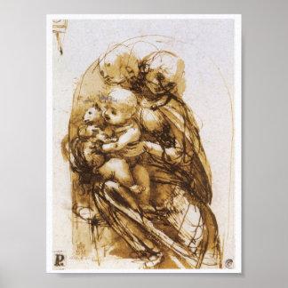 Madonna y niño con un gato, Leonardo da Vinci Póster