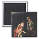 Madonna y niño con una serpiente, 1605 imán cuadrado
