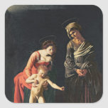 Madonna y niño con una serpiente, 1605 pegatina cuadrada