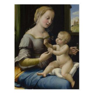 Madonna y niño de Cristo Postal