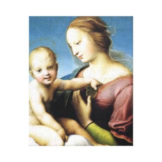 Madonna y niño de Cristo que se sienta afuera Lona Estirada Galerías