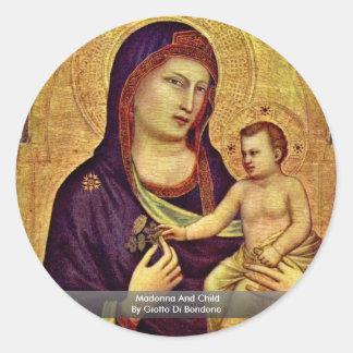 Madonna y niño de Giotto Di Bondone Pegatinas Redondas