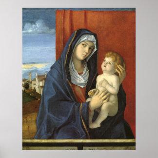 Madonna y niño de Juan Bellini Poster