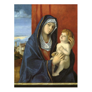 Madonna y niño de Juan Bellini Postal