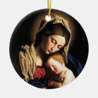 Madonna y niño adorno redondo de cerámica