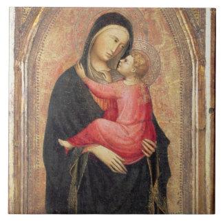Madonna y niño (el panel) 3 azulejo cuadrado grande