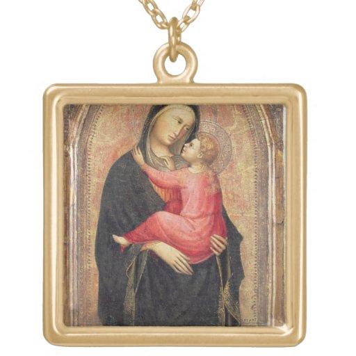 Madonna y niño (el panel) 3 colgante cuadrado