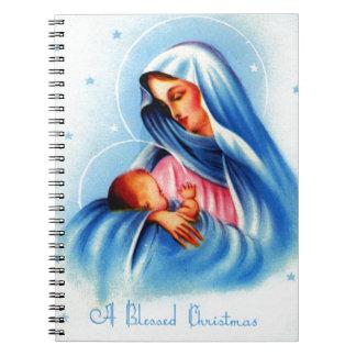 Madonna y niño en azul y blanco cuaderno