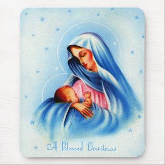 Madonna y niño en azul y blanco mousepad