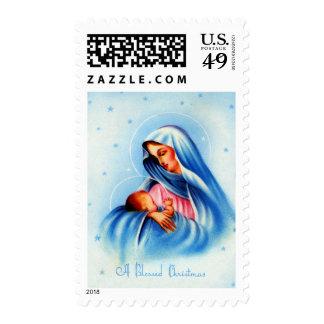 Madonna y niño en azul y blanco timbre postal