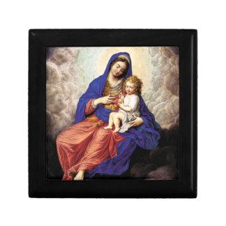 Madonna y niño en gloria cajas de recuerdo