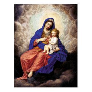 Madonna y niño en gloria tarjeta postal