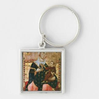 Madonna y niño Enthroned, c.1260 Llavero Cuadrado Plateado