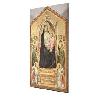 Madonna y niño Enthroned, c.1300-03 (PRE-restor Impresión En Tela