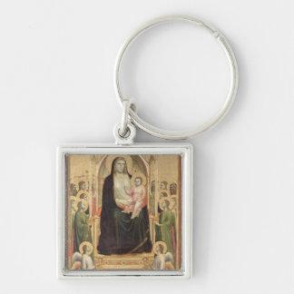 Madonna y niño Enthroned, c.1300-03 (PRE-restor Llavero Cuadrado Plateado