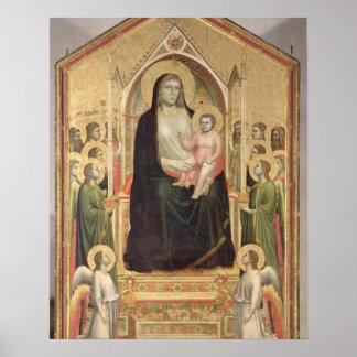Madonna y niño Enthroned, c.1300-03 (PRE-restor Póster