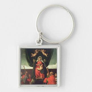 Madonna y niño Enthroned con cuatro santos, 1546 Llavero Cuadrado Plateado
