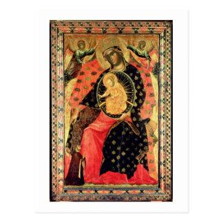 Madonna y niño Enthroned con dos personas devotas Tarjetas Postales