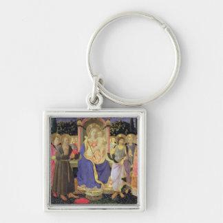 Madonna y niño enthroned con los santos (altarpiec llavero cuadrado plateado
