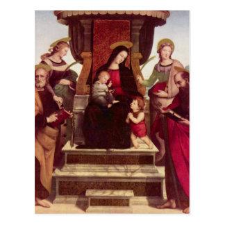 Madonna y niño Enthroned con los santos por el Tarjeta Postal