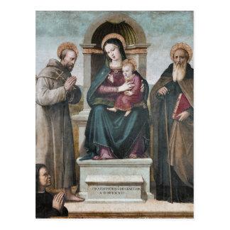 Madonna y niño Enthroned con los santos Postales
