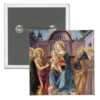 Madonna y niño Enthroned con los SS Pin Cuadrada 5 Cm