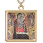 Madonna y niño enthroned con seis ángeles (el pane colgante cuadrado