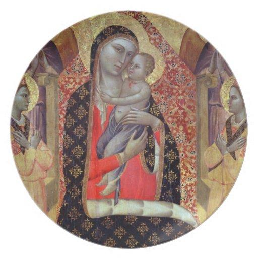 Madonna y niño enthroned con seis ángeles (el pane platos para fiestas