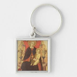 Madonna y niño Enthroned con Vulciano dispensador  Llavero Cuadrado Plateado