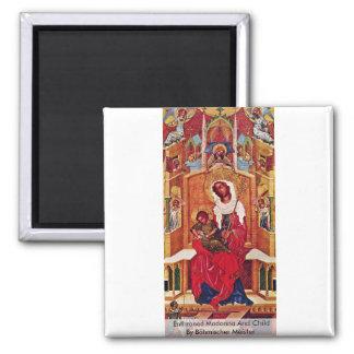 Madonna y niño Enthroned de Böhmischer Meister Imán Cuadrado