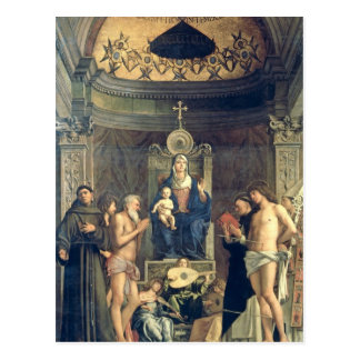 Madonna y niño Enthroned entre los SS. Francisco, Postal