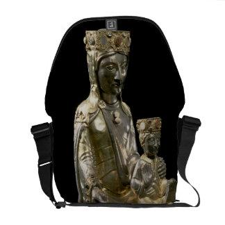 Madonna y niño Enthroned, figurilla, francés, 12 Bolsa De Mensajeria