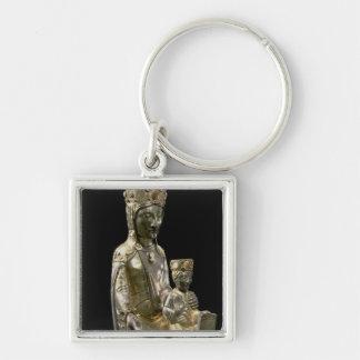Madonna y niño Enthroned, figurilla, francés, 12 Llavero Cuadrado Plateado