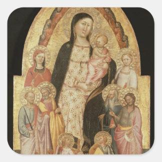 Madonna y niño Enthroned Pegatina Cuadrada