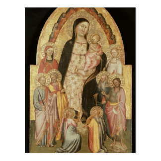 Madonna y niño Enthroned Postal