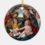 Madonna y niño: Florencia, Italia Adorno Navideño Redondo De Cerámica