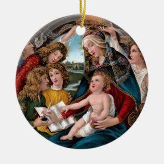 Madonna y niño: Florencia, Italia Adorno Redondo De Cerámica