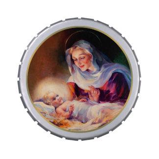 Madonna y niño Latas de la broche del recorte del Jarrones De Caramelos