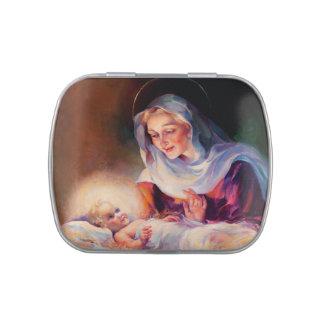 Madonna y niño Latas de la broche del recorte del Frascos De Dulces