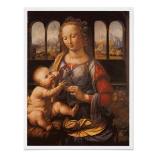 Madonna y niño, Leonardo da Vinci, 1475 Póster