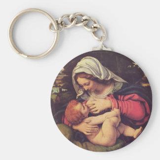 Madonna y niño llaveros