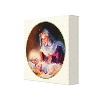 Madonna y niño. Lona envuelta bella arte Impresión En Tela