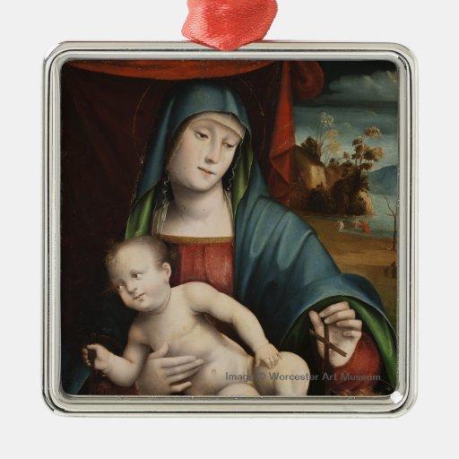 Madonna y niño - ornamento del navidad adornos de navidad